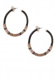 Tembi | Oorbellen met kralen en leer Beaded Leather | rosegoud  | Afbeelding 2