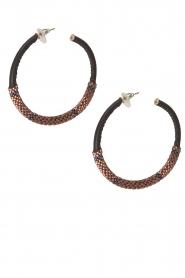 Tembi | Oorbellen met kralen en leer Leather Rose | rosegoud  | Afbeelding 2