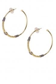 Tembi |  Earring with stone Stone Hoop | gold