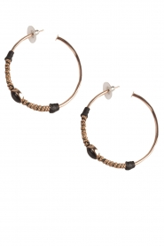 Tembi |  Earring with stone Stone Hoop | rose gold  | Picture 2