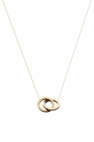 Just Franky |  14kt golden necklace Iconic Double Open Circle 40 cm | gold  | Picture 1