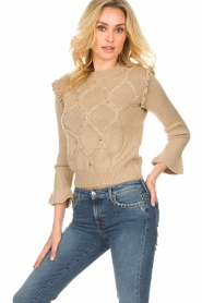 Patrizia Pepe |  Wool sweater Jules | beige  | Picture 2