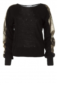 Patrizia Pepe |  Top with metallic sleeves Lira | black  | Picture 1