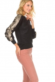Patrizia Pepe |  Top with metallic sleeves Lira | black  | Picture 4