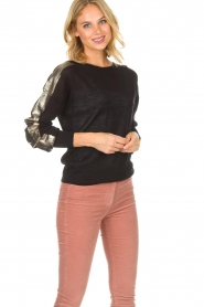 Patrizia Pepe |  Top with metallic sleeves Lira | black  | Picture 2