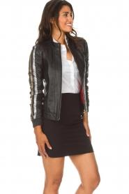 Patrizia Pepe |  Leather jacket Micky | black  | Picture 4