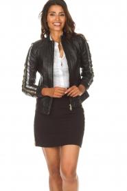 Patrizia Pepe |  Leather jacket Micky | black  | Picture 2