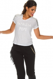 Patrizia Pepe | T-shirt Mary | wit  | Afbeelding 2