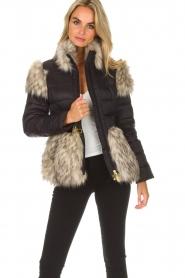 ELISABETTA FRANCHI |  Down jacket with faux fur Becca | black  | Picture 7