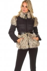 ELISABETTA FRANCHI |  Down jacket with faux fur Becca | black  | Picture 4