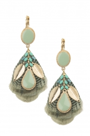 Satellite Paris |  14ct gold gilded earrings Evelly | green  | Picture 2