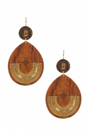 Satellite Paris |  14ct gold gilded earrings Elan | brown  | Picture 1