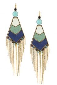 Satellite Paris |  14ct gold gilded earrings Alo | blue  | Picture 1