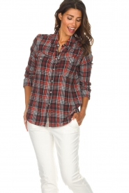 Zoe Karssen |  Plaid blouse Checked | red  | Picture 4