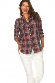 Zoe Karssen |  Plaid blouse Checked | red  | Picture 2