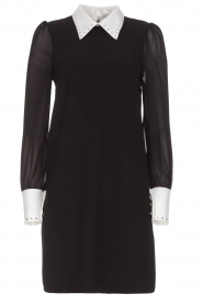 AnnaRita N |  Dress with collar and diamonds Camilia | black  | Picture 1