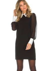 AnnaRita N |  Dress with collar and diamonds Camilia | black  | Picture 4