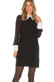 AnnaRita N |  Dress with collar and diamonds Camilia | black  | Picture 2