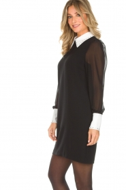 AnnaRita N |  Dress with collar and diamonds Camilia | black  | Picture 5