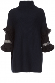 AnnaRita N |  Turtle neck with lace Mylena | navy  | Picture 1