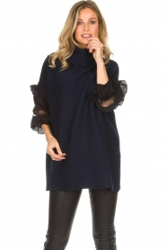 AnnaRita N |  Turtle neck with lace Mylena | navy  | Picture 2