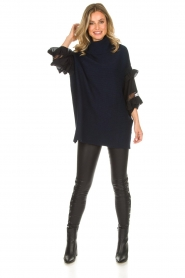 AnnaRita N |  Turtle neck with lace Mylena | navy  | Picture 3