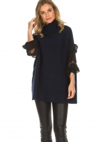 AnnaRita N |  Turtle neck with lace Mylena | navy  | Picture 4
