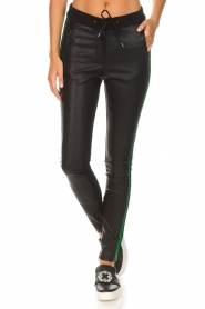 Aaiko |  Faux leather pants Sosa | black and green  | Picture 3