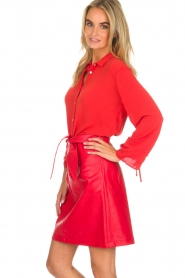 Aaiko |  Faux leather skirt Patia | red  | Picture 4