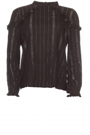 Aaiko |  Blouse with ruffles Varinia | black  | Picture 1