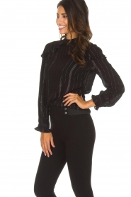Aaiko |  Blouse with ruffles Varinia | black  | Picture 4
