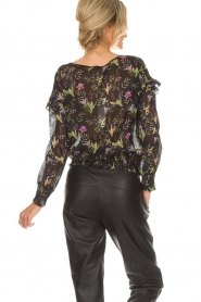 Aaiko |  Top with floral print Fianna | black  | Picture 5