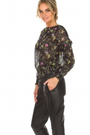 Aaiko |  Top with floral print Fianna | black  | Picture 4