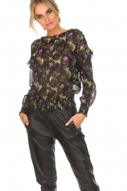 Aaiko |  Top with floral print Fianna | black  | Picture 2