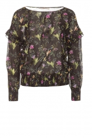 Aaiko |  Top with floral print Fianna | black  | Picture 1