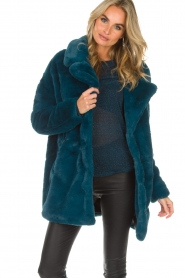 Aaiko |  Faux fur coat Fiona | blue  | Picture 2