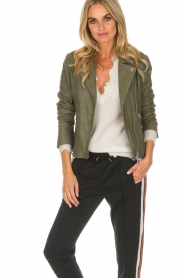 Set |  Leather biker jacket Tyler | green  | Picture 2