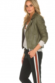 Set |  Leather biker jacket Tyler | green  | Picture 4