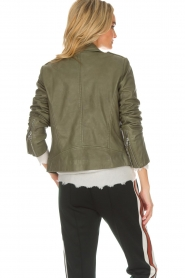Set |  Leather biker jacket Tyler | green  | Picture 5