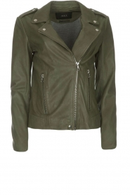 Set |  Leather biker jacket Tyler | green  | Picture 1