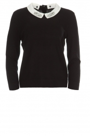 Set |  Fine knit sweater with blouse collar Jules | black  | Picture 1