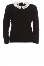Set | Fijngebreide trui met blousekraag Jules | zwart  | Afbeelding 1