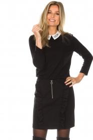 Set | Fijngebreide trui met blousekraag Jules | zwart  | Afbeelding 4