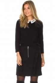 Set | Fijngebreide trui met blousekraag Jules | zwart  | Afbeelding 2