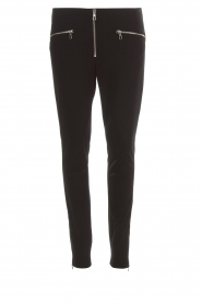Set |  Stretch pants with zipper details Jade | black  | Picture 1