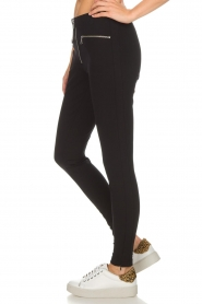 Set |  Stretch pants with zipper details Jade | black  | Picture 4