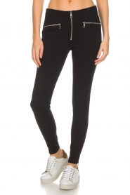 Set |  Stretch pants with zipper details Jade | black  | Picture 3