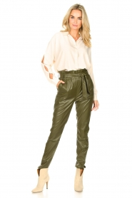 Dante 6 |  Faux Leather pants Duncan | olive green  | Picture 3