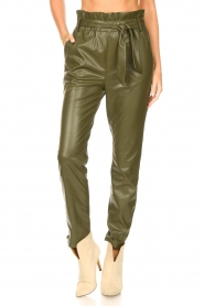 Dante 6 |  Faux Leather pants Duncan | olive green  | Picture 5