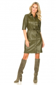 Dante 6    Faux leather dress Baroon   olive green    Picture 3